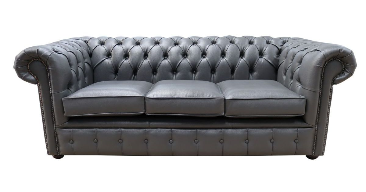 Grey Leather Chesterfield Sofa Designersofas4u