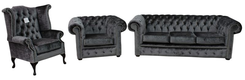 Chesterfield 3 Piece Suite Boutique Storm Velvet Sofa Suite Offer