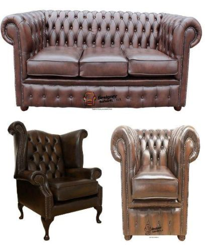 Chesterfield Leather 3 Seater / Wing Chair / Club Chair Sofa Offer Antique Brown