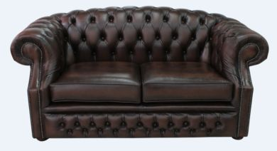 Chesterfield Buckingham 2 Seater Antique Brown Leather Sofa Offer
