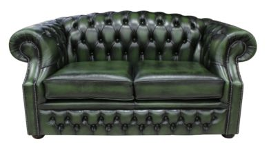 Chesterfield Buckingham 2 Seater Antique Green Leather Sofa Offer