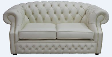 Chesterfield Buckingham 2 Seater Cottonseed Cream Leather Sofa Offer