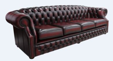 Chesterfield Buckingham 4 Seater Antique Oxblood Leather Sofa Offer