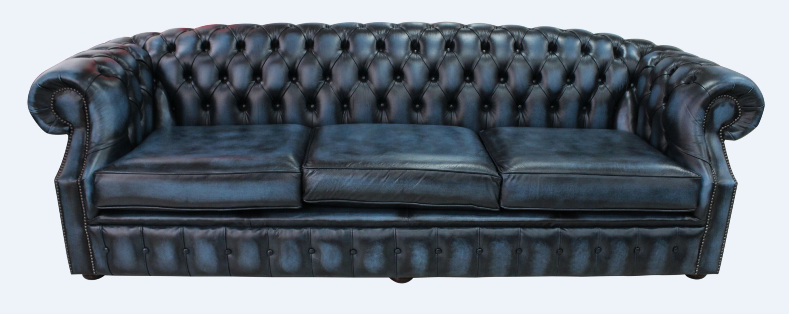 Chesterfield Buckingham 4 Seater Antique Blue Leather Sofa Offer