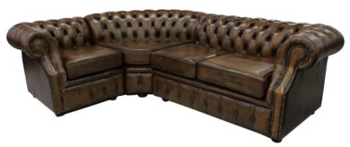 Chesterfield Graham Corner Sofa Unit 2 + C + 1 Antique Gold Leather