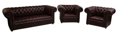 Chesterfield 3 Seater Settee + Club Chair + Club Chair Buttoned Seat Old English Dark Brown Leather Sofa Suite