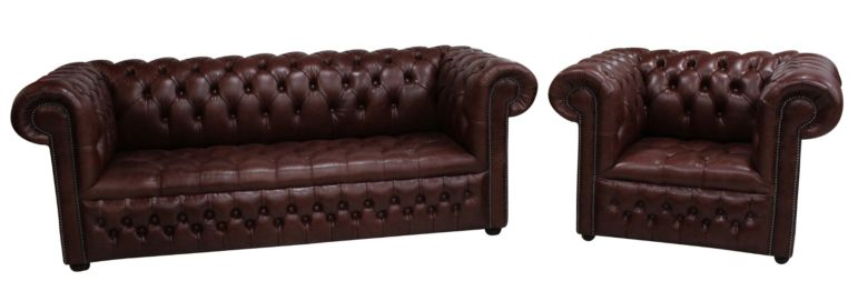 Chesterfield 3 Seater Settee + Club Chair Buttoned Seat Old English Dark Brown Leather Sofa Suite