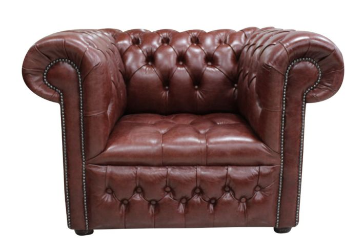 Chesterfield Low Back Club ArmChair Buttoned Seat Old English Dark Brown Leather