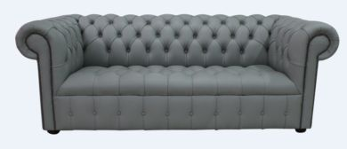 Chesterfield 3 Seater Sofa Settee Buttoned Seat Piping Grey Leather Sofa Offer