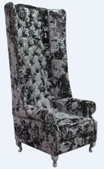 Chesterfield Camden Velvet High Back Wing Chair Lustro Flint