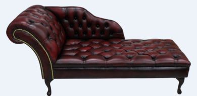 Chesterfield Leather Chaise Lounge Button Seat Day Bed Antique Oxblood