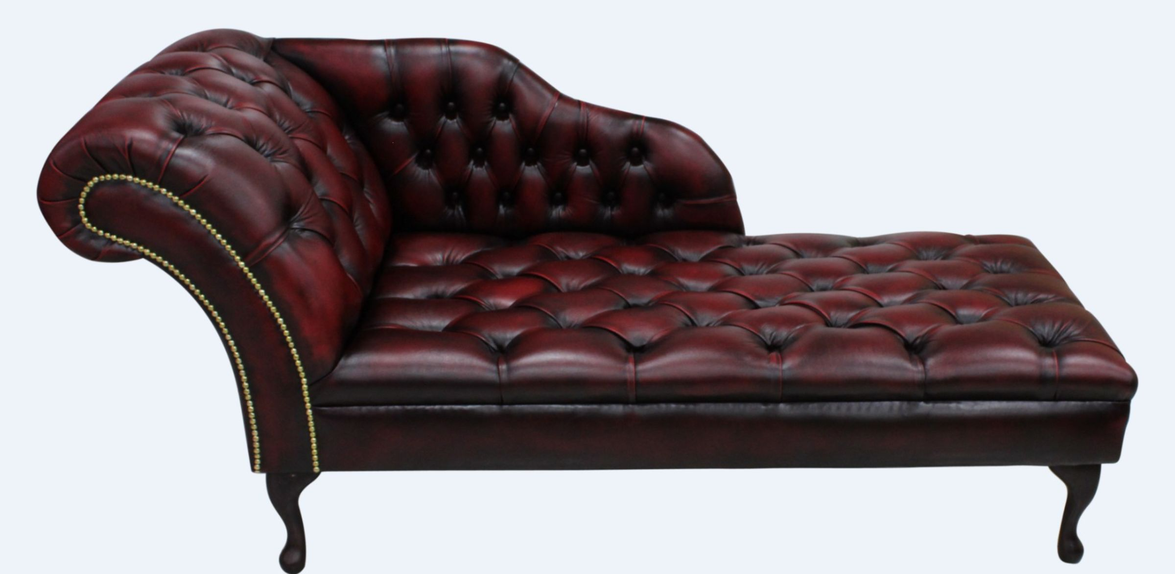 Chesterfield Leather Chaise Lounge Button Seat Day Bed
