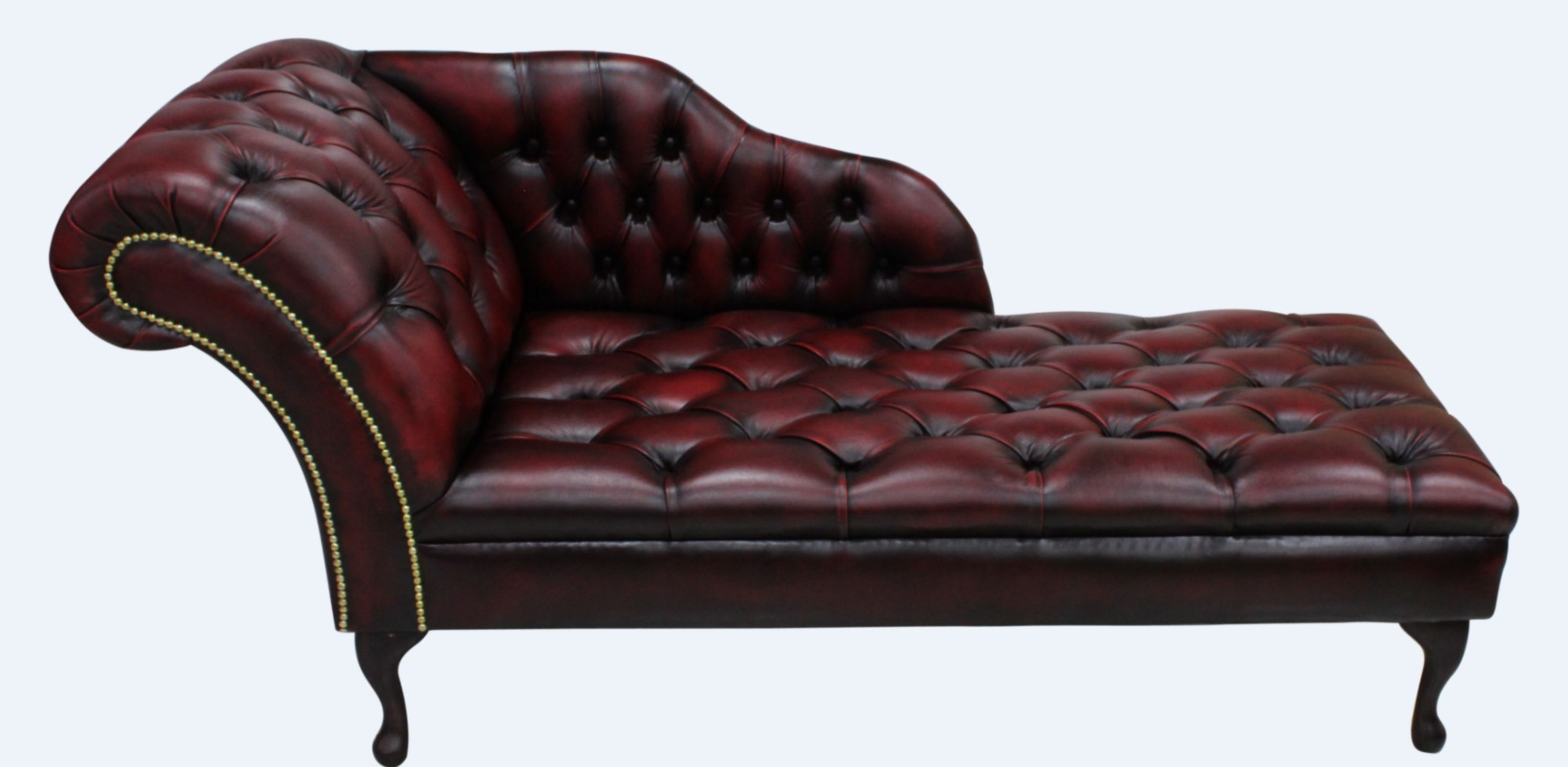 - Chesterfield Leather Chaise Lounge Button Seat Day Bed Antique