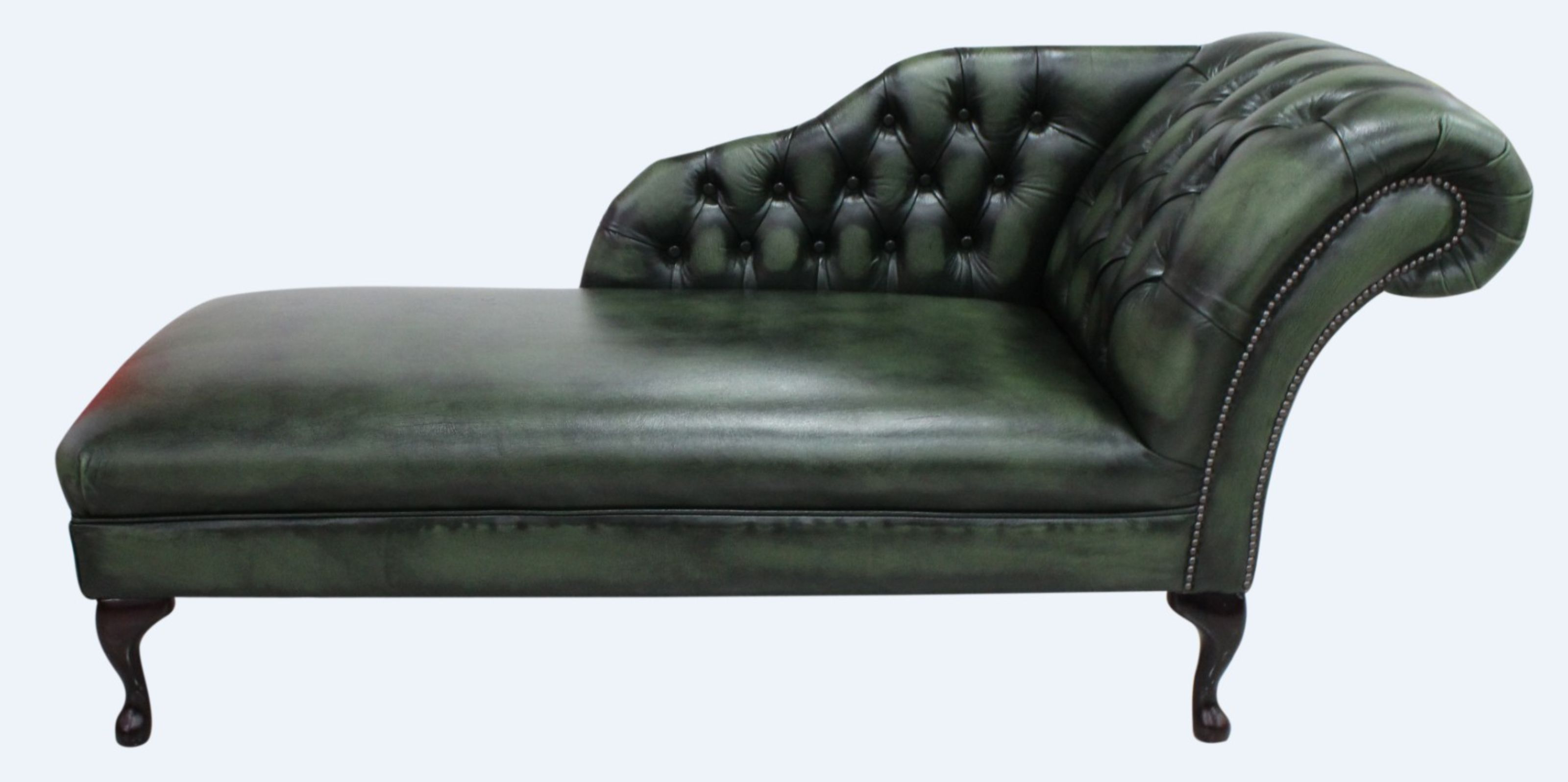 - Chesterfield Leather Chaise Lounge Day Bed Antique Green