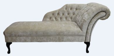 Chesterfield Velvet Chaise Lounge Day Bed Modena Camel Velvet