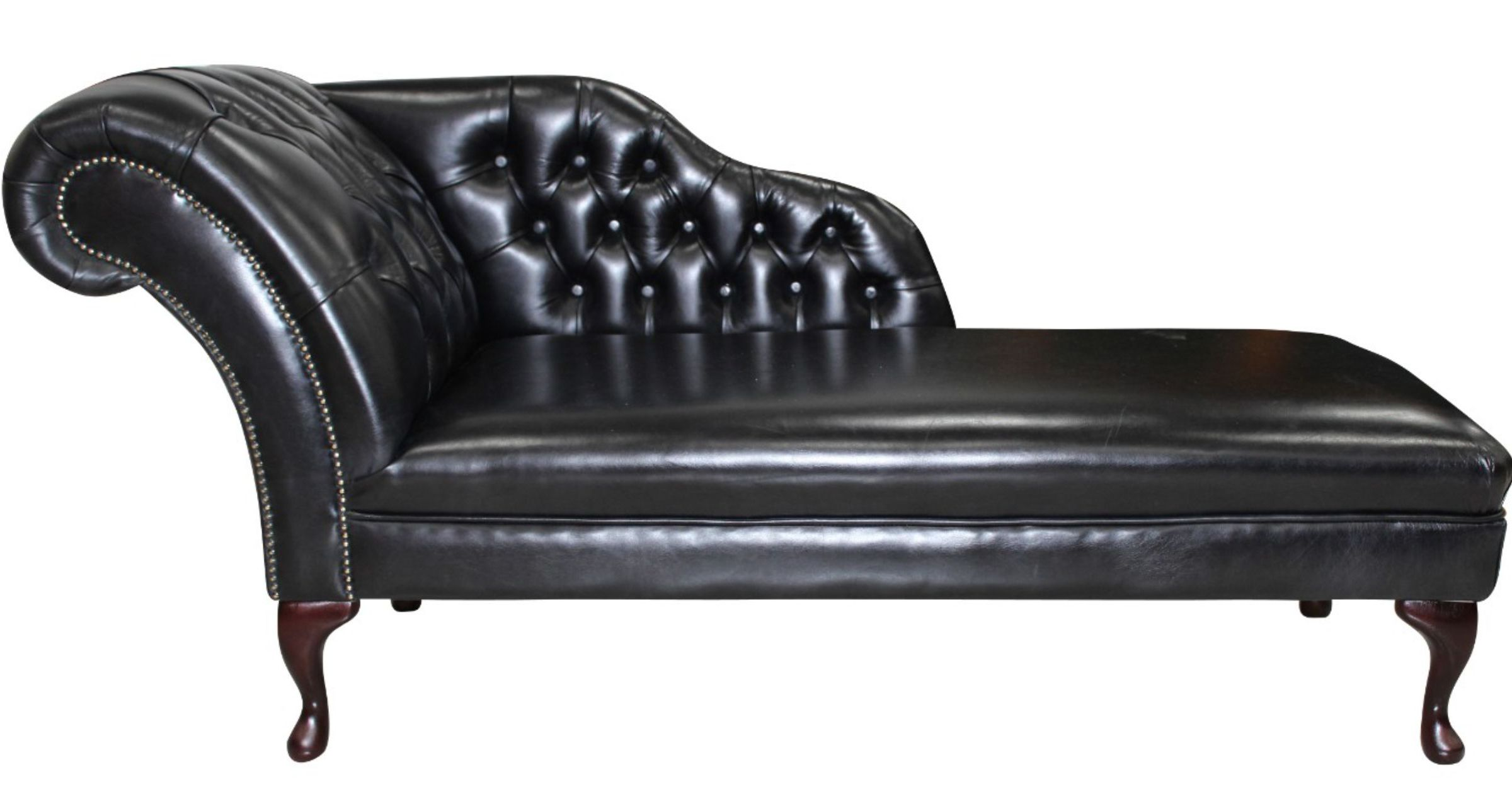 Chesterfield leather chaise lounge day bed designersofas4u for Black leather sofa chaise lounge