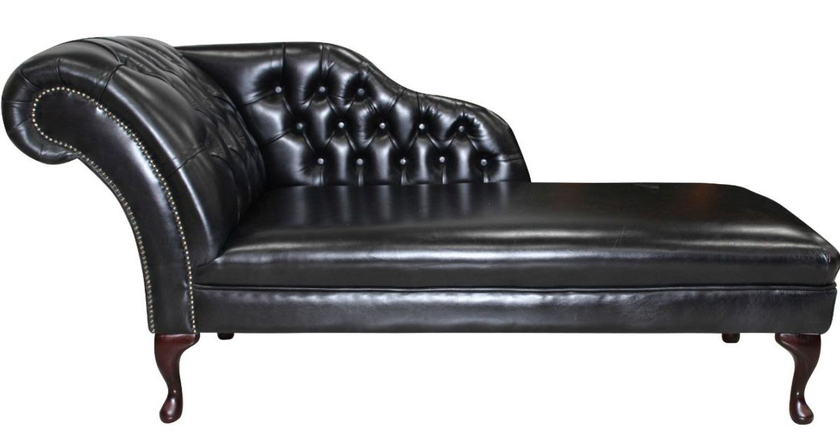 Chesterfield leather chaise lounge day bed designersofas4u for Black friday chaise lounge