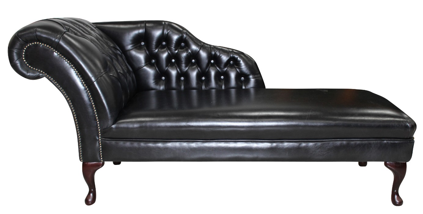 - Chesterfield Leather Chaise Lounge Day Bed Old English Black