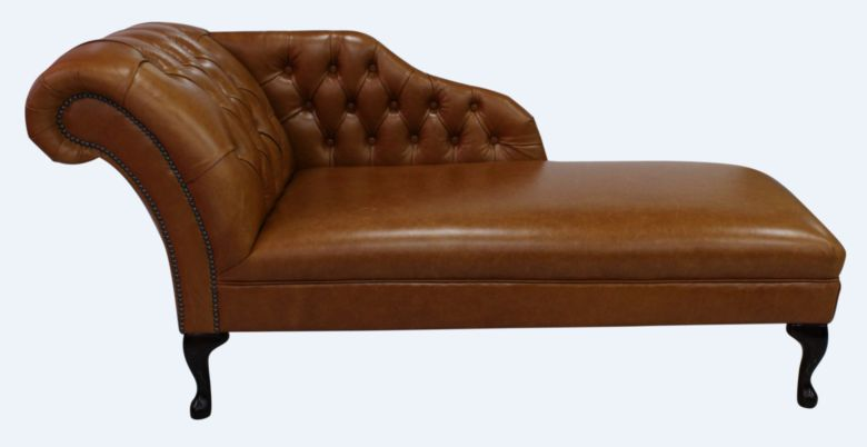 Chesterfield Leather Chaise Lounge Day Bed Old English Bruciato