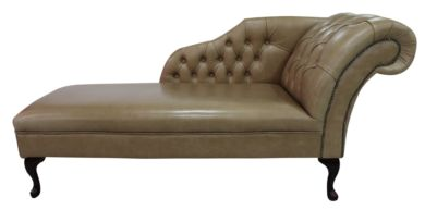 Chesterfield Leather Chaise Lounge Day Bed Old English Parchment