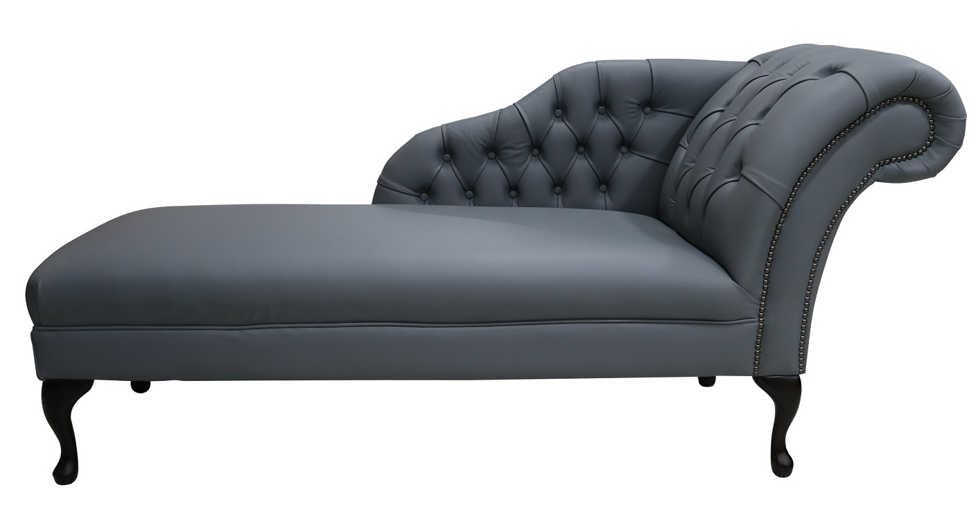 Piping Grey Chesterfield Leather Chaise Lounge Day Bed Designersofas4u