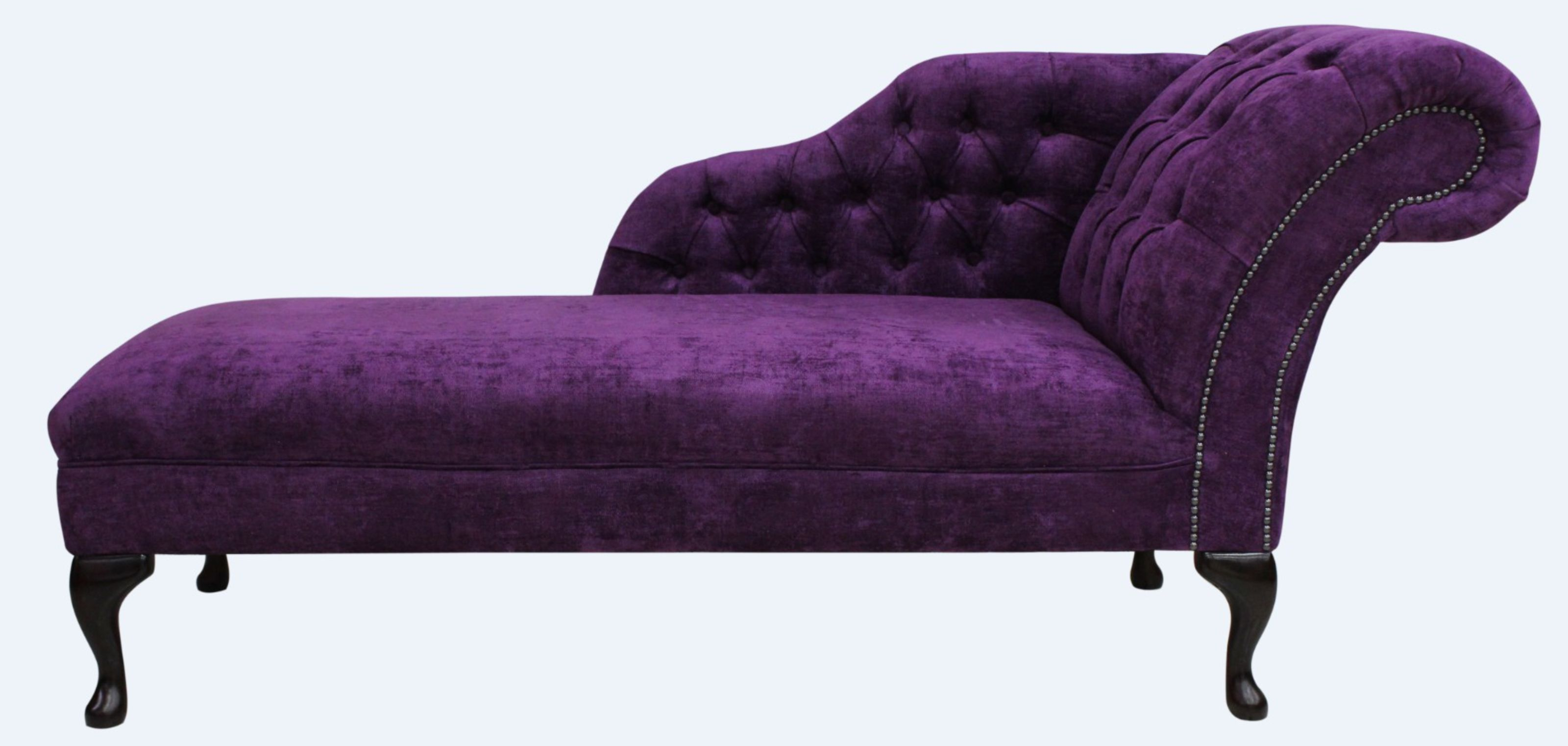 - Chesterfield Chaise Lounge Day Bed Velluto Amethyst Purple Fabric