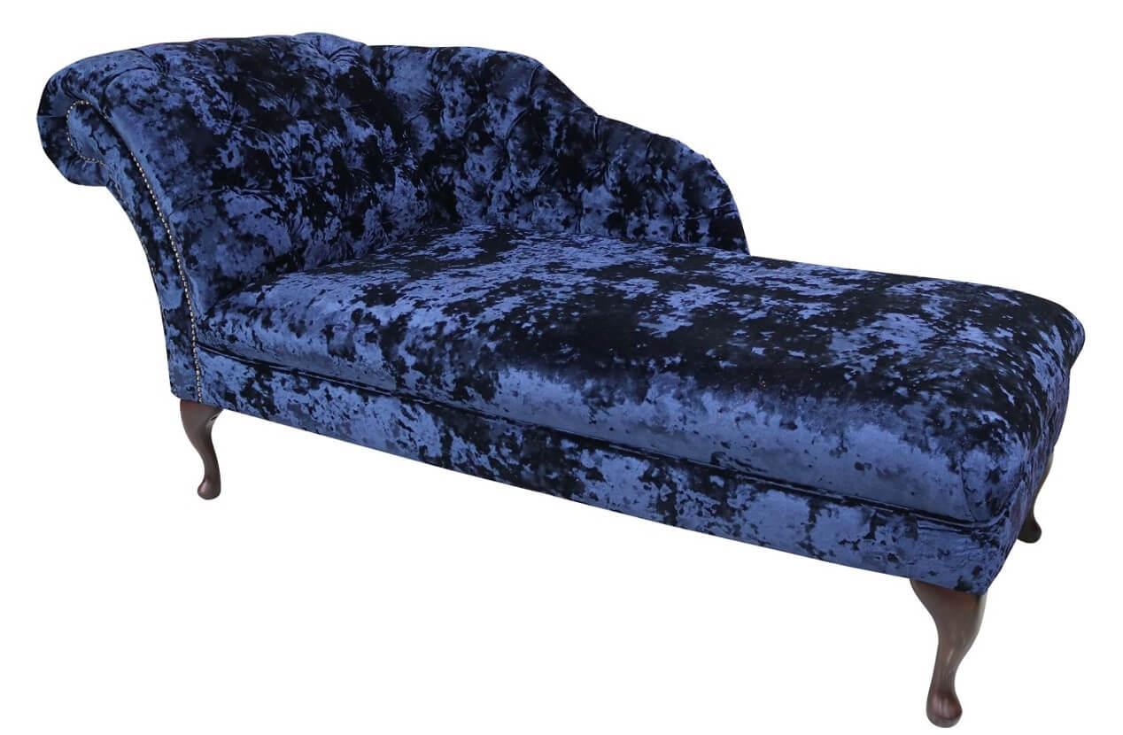 Chesterfield Velvet Chaise Lounge Day Bed Lustro Sapphire Blue Velvet