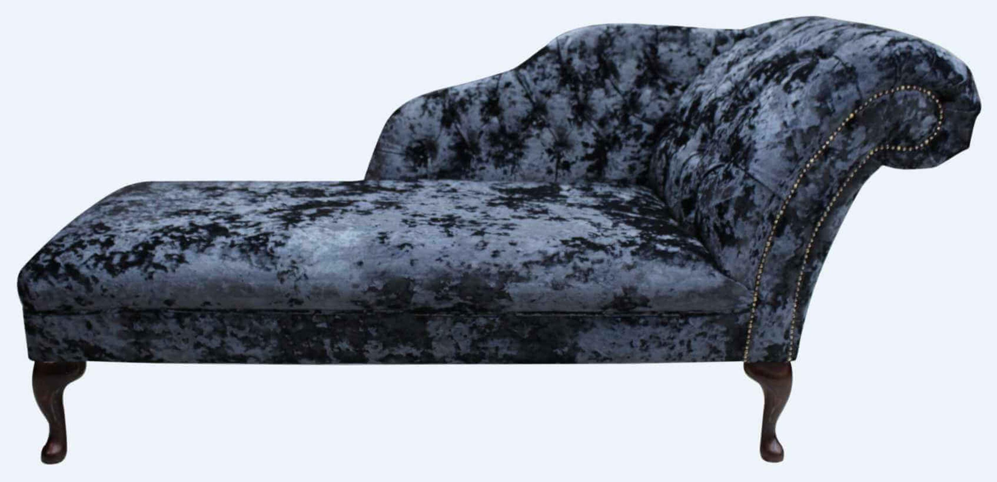 Chesterfield Velvet Chaise Lounge Day Bed Lustro Night Black Velvet