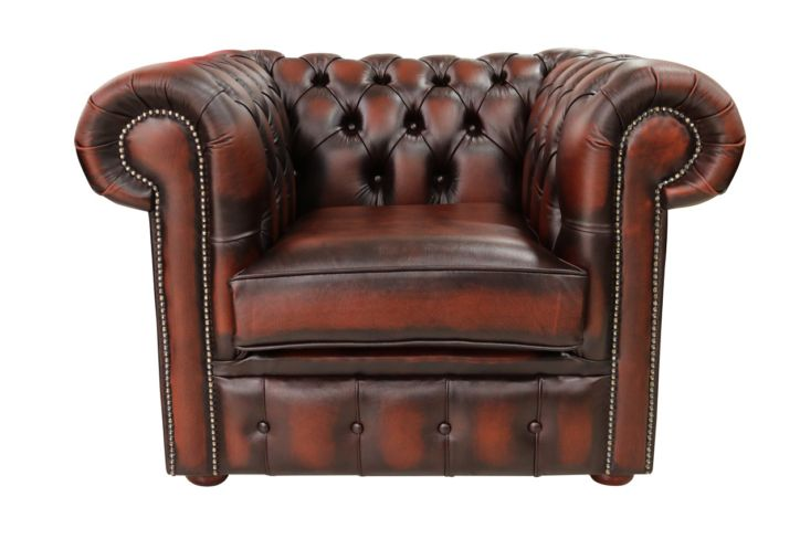 Chesterfield Low Back Club ArmChair Antique Rust Leather