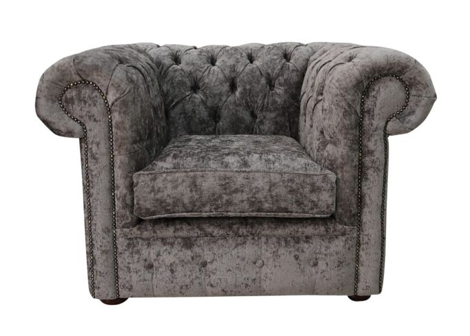 Chesterfield Low Back Club ArmChair Belvedere Pewter Grey Fabric