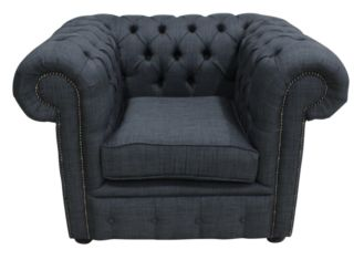Chesterfield Low Back Club Armchair Charles Charcoal Grey Linen Fabric