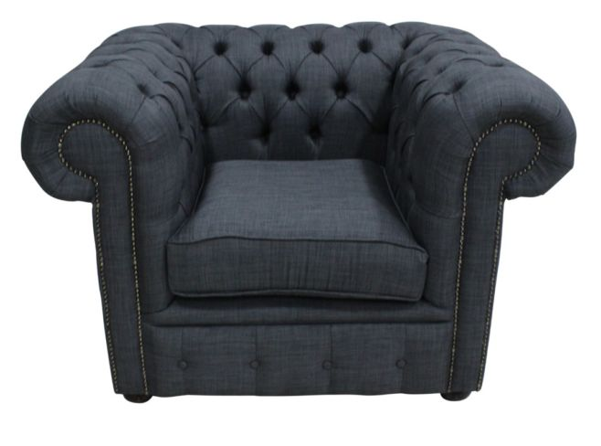 Buy grey fabric Chesterfield armchair | DesignerSofas4U