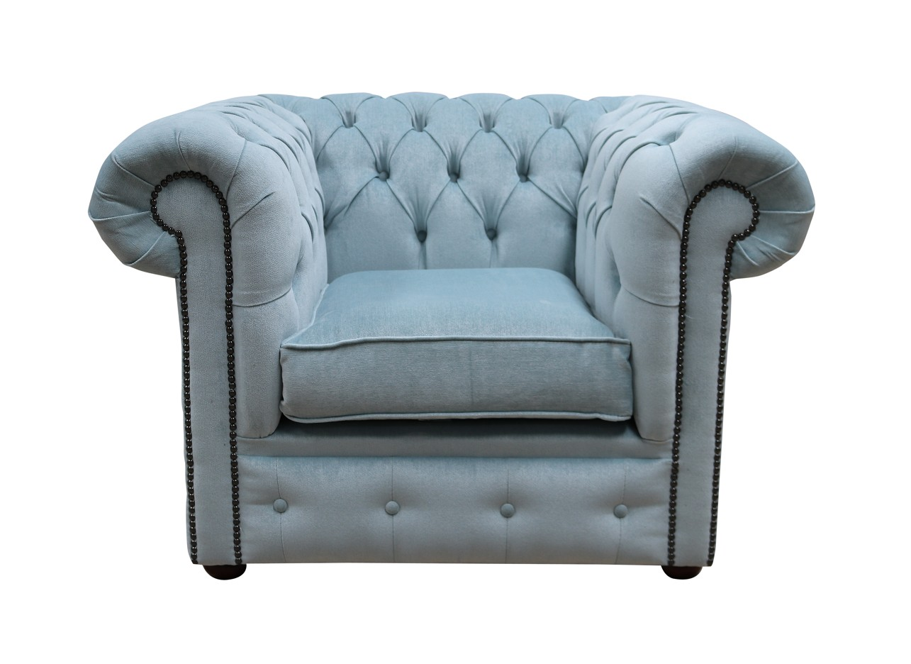 Awesome Chesterfield Low Back Club Armchair Velluto Duck Egg Blue Fabric Spiritservingveterans Wood Chair Design Ideas Spiritservingveteransorg