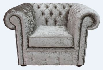 Chesterfield Low Back Club ArmChair Shimmer Mink Velvet Fabric