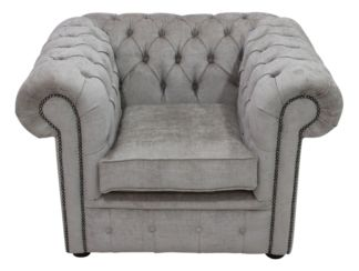 Chesterfield Low Back Club Armchair Velluto Hessian Fabric