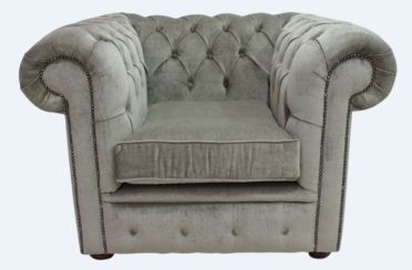 Chesterfield Low Back Club ArmChair Velluto Sage Fabric