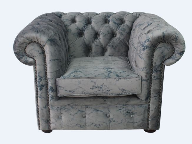 Chesterfield Low Back Club ArmChair Marble Velvet Fabric