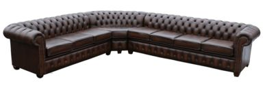 Large Chesterfield Corner Sofa Unit Cushioned 7 Seater (with arm), Leather Sofas, Traditional Sofas