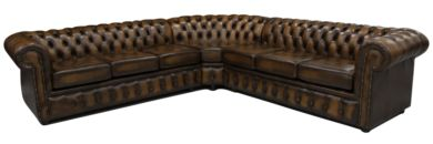 Chesterfield Corner Sofa Unit 7 Seater Antique Tan Leather Cushioned