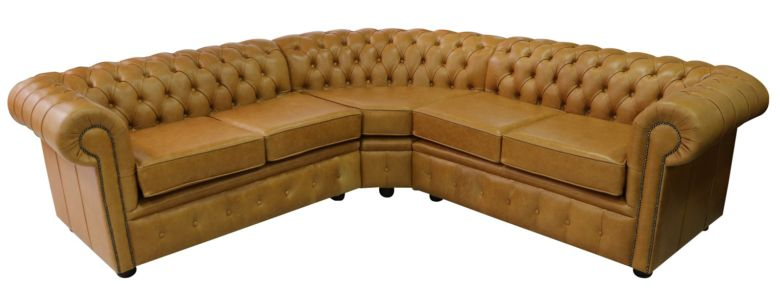 Chesterfield Corner Sofa Unit Cushioned 2 Seater + Corner + 2 Seater Old English Buckskin Leather