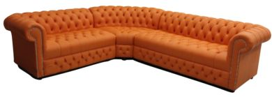 Chesterfield Corner Sofa Unit Buttoned Seat 3 Seater + Corner + 2 Seater Mandarin Orange Leather