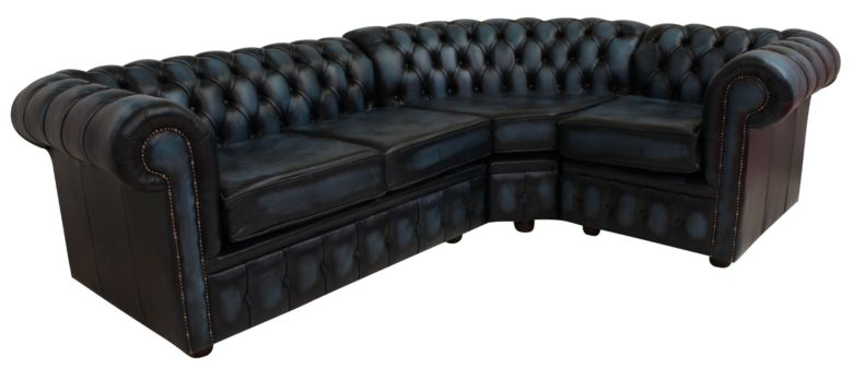 Chesterfield Corner Sofa 2 Seater + Corner + 1 Seater Antique Blue Leather