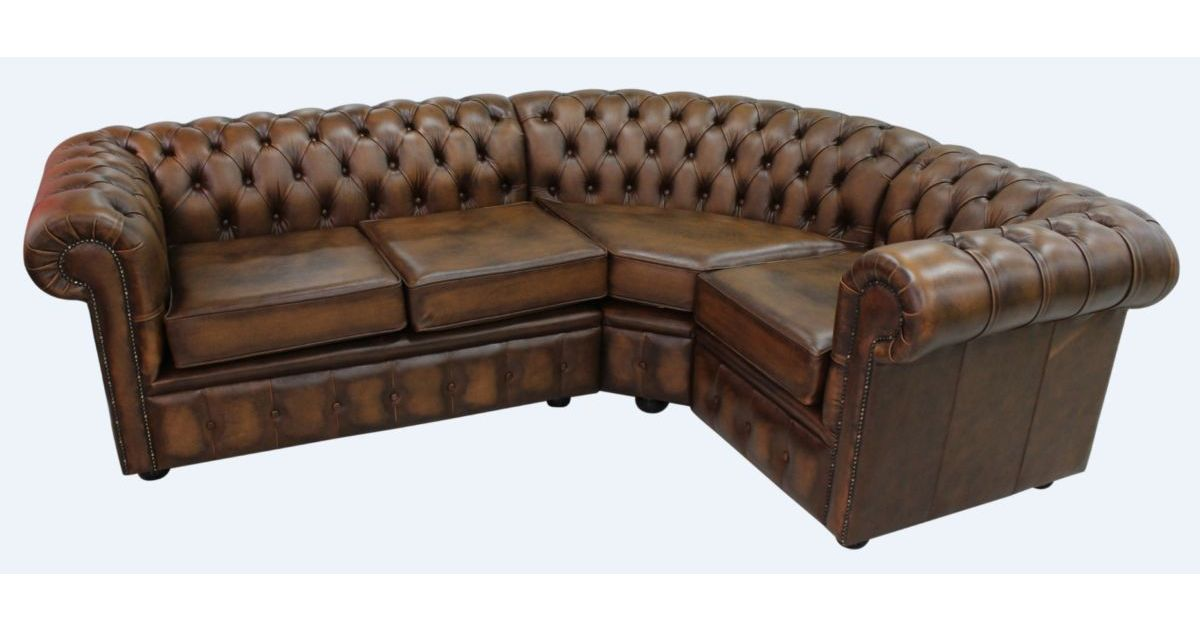 Chesterfield corner sofa 2 seater corner 1 seater for Leather sofa 7 seater