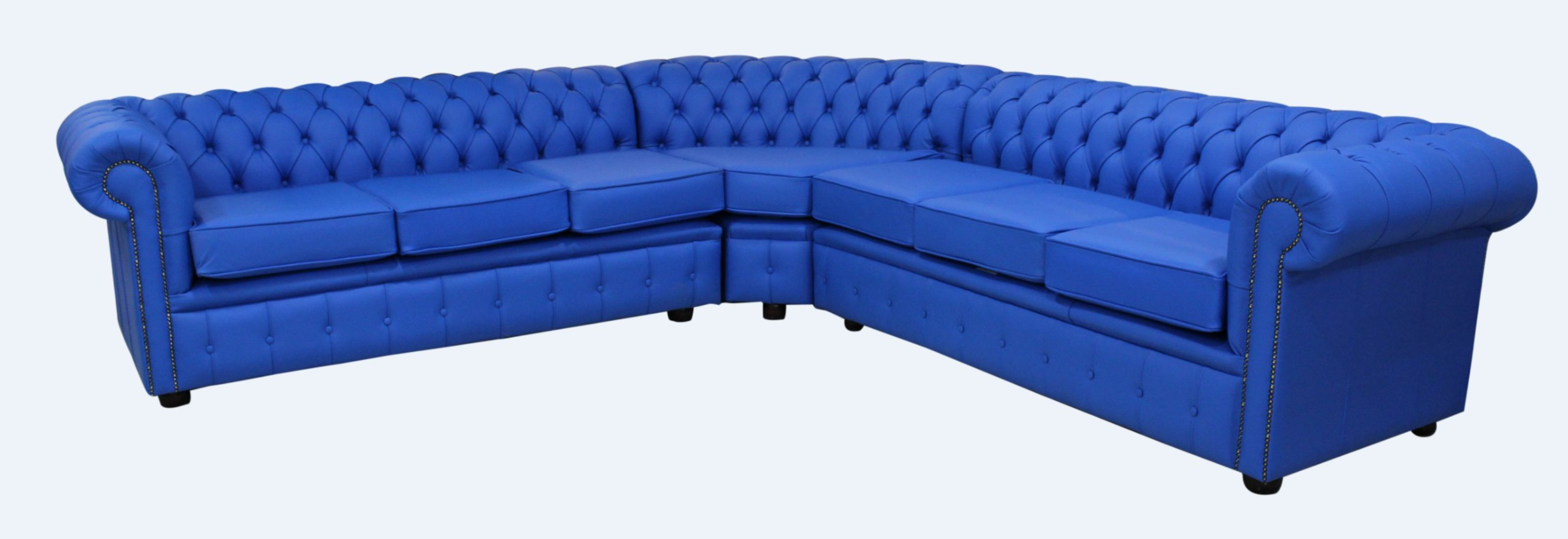 Amazing Chesterfield Corner Sofa Unit 7 Seater Deep Ultramarine Blue Leather Cushioned Ibusinesslaw Wood Chair Design Ideas Ibusinesslaworg