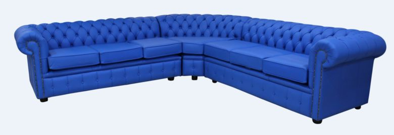 Chesterfield Corner Sofa Unit 7 Seater Deep Ultramarine Blue Leather Cushioned