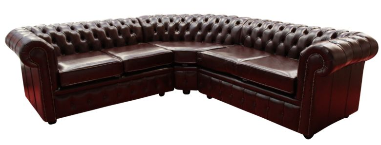 Chesterfield Corner Sofa Unit Cushioned 2 Seater + Corner + 2 Seater Old English Red Brown Leather