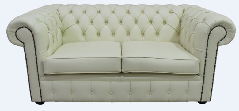 Chesterfield 2 Seater Cottonseed Cream Leather Sofa Offer