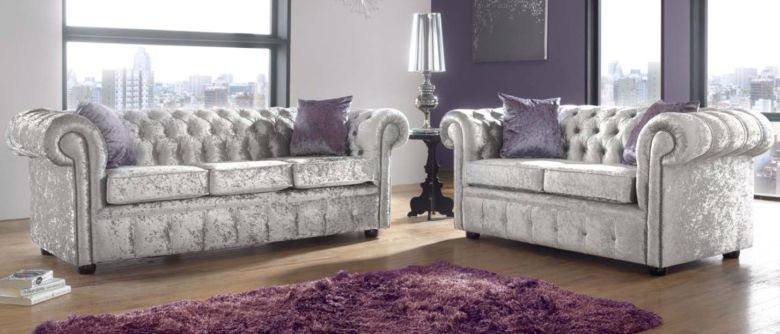 Chesterfield 3+2 Seater Sofa Suite Shimmer Mink Velvet