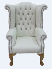 Chesterfield Childrens Crystal Queen Anne High Back Wing Chair White Leather