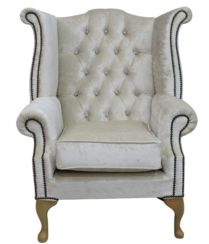 Chesterfield Crystal Queen Anne High Back Wing Chair Boutique Ivory